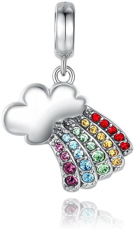 Rainbow Cloud Colorful Crystal Charm de plata de ley 925 Bead: Amazon.es: Joyería