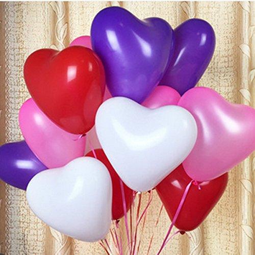 100pcs 12Inch Love Heart Balloon Balloons Valentine Proposal Wedding Party (Jewel Heart Box Wedding Favors)