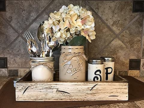 Ball Mason Jar KITCHEN Table Centerpiece SET Antique WHITE TRAY ~Salt and Pepper Shakers, Pint Vase Jar with FLOWER, ~Distressed Painted Jars, Accessory Holder Green Brown Cream White Tan (Painting Pallet Trays)