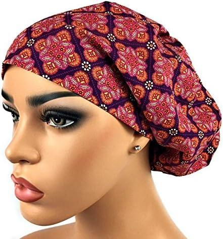 e9a9230a3c3 DK Scrub Hats Women s Adjustable Bouffant Scrub Hat Ponytail Surgical Cap  Maroon Geometric