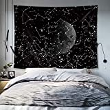 WUIOS Glow in The Dark Moon Star Constellation Tapestry Universe Space Tapestry Wall Decoration for Dorm, Apartments,Room Wall Hanging