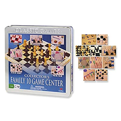 Family 10 Game Center Solid Wood Boards Metal Box Set