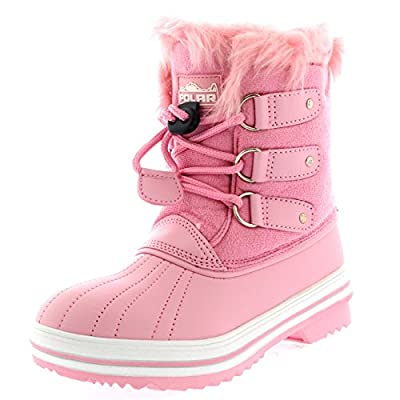 Polar Unisex Kids Drawstring Waterproof Fur Lined Winter Pull On Rain Boots