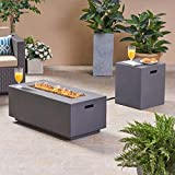 Great Deal Furniture Leo Outdoor 40' Rectangular Light Weight Concrete Gas Burning Fire Pit, Dark Gray