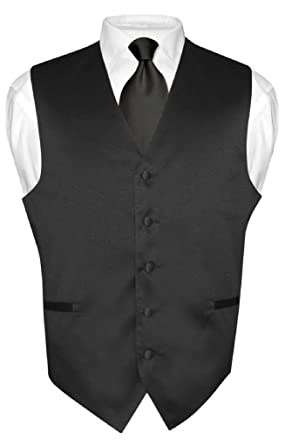 Men's Dress Vest & NeckTie Solid BLACK Color Neck Tie Set for Suit