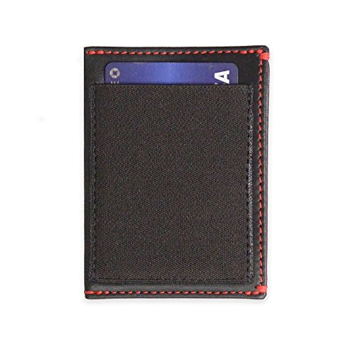 slimJIMMY Slim Wallet with Expanding Card Holder (Black Leather Red (Slim Stitch)