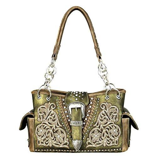 MW599-8085 Montana West Belt-Buckle Collection Satchel Bag (Bronze)