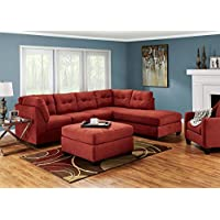 Marlo Red 3 Pc. Sectional With Full Sleeper LAF - Sofa - Chaise