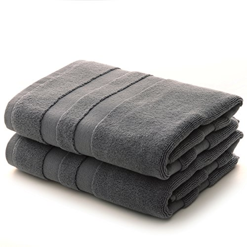 Cheer Collection Set of 2 100% Cotton Super Absorbent Tub Shower Bath Mats (20 inches x 31 inches) - Grey (Hotel Accessories Bath Collection)