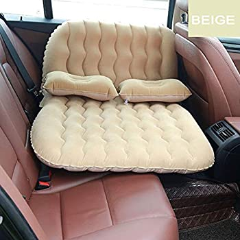 Image of Car Inflatable Mattress Air Bed Portable Camping Flocking Fabric Couch with 2 Air Pillows for Child Sleep, Rest, Travel and Camping for Universal SUV, Car and MPV,Beige Home and Kitchen