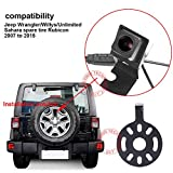 HDMEU HD Color CCD Waterproof Vehicle Car Rear View Backup Camera, 170° Viewing Angle Reversing Camera for Jeep Wrangler Willys Unlimited Sahara Spare tire Rubicon 2007-2015