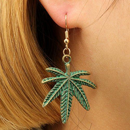 18K Gold Plated Harajuku design 3D Retro Green maple leaf Charm Women Girls Dangle Earring