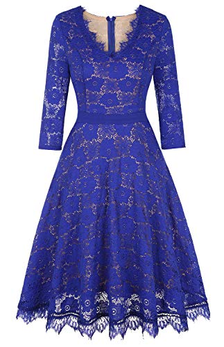 Twinklady Women's Vintage Full Lace Bell Sleeve Big Swing A-Line Dress (Royal Blue, L)