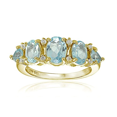 Yellow Gold Flashed Sterling Silver Blue and White Topaz 5-Stone Half Eternity Band Ring, Size 6