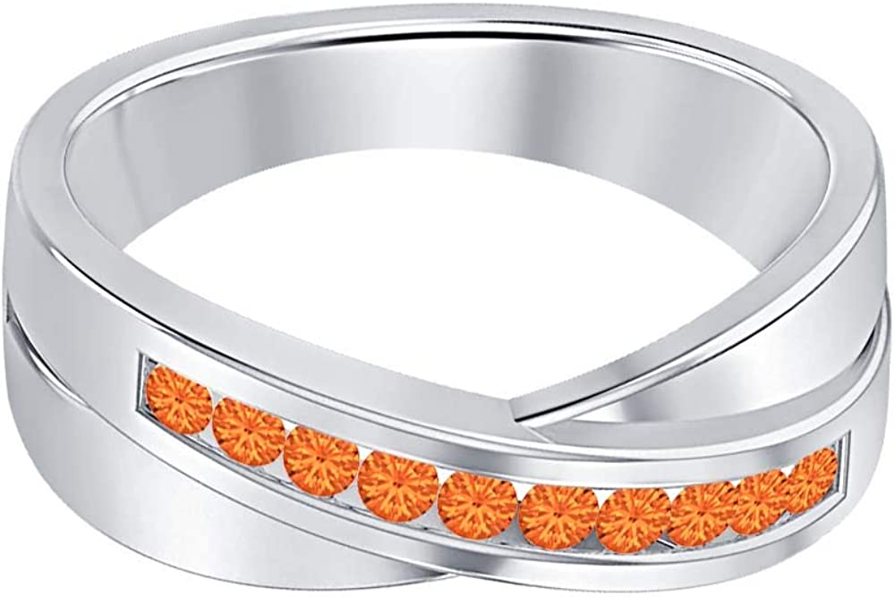 SVC-JEWELS 14K White Gold Over 925 Sterling Silver Round Cut Orange Sapphire Criss Cross X Wedding Band Ring Men