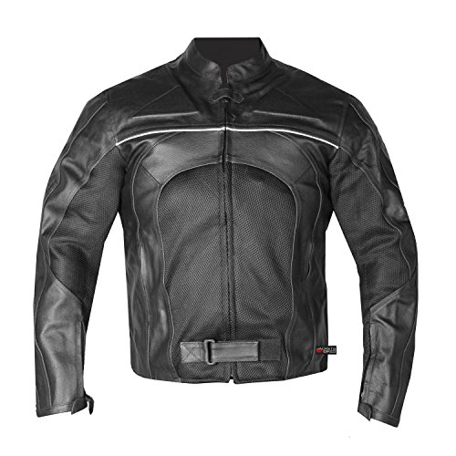 New Men's Razer Motorcycle Biker Armor Mesh & Leather Black Riding Jacket L ()