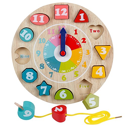 Wooden Teaching Clock (Wooden Shape Sorting Teaching Clocks Educational Lacing Beads Toys for Preschool Age Kids Toddlers)