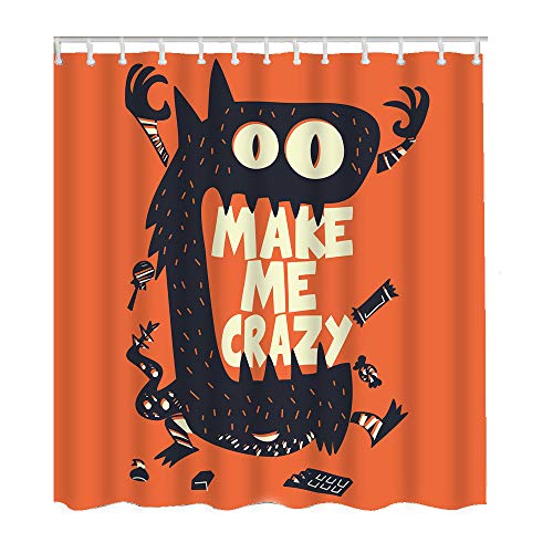Moslion Halloween Shower Curtains Cool Monster Wide Mouth