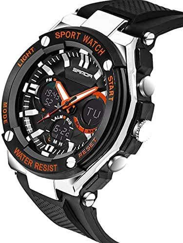Kids Watch Led Light Calendar Black Rubber Strap Large Dial Waterproof Sport Watch Swimming Black+Orange