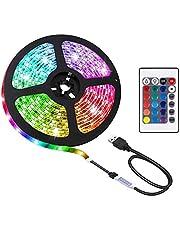 Gluckluz LED Strip Light 2M TV Backlight Waterproof RGB Decoration Lighting for HDTV Desktop PC Fish Tank Monitor with Remote Control (USB Powered)