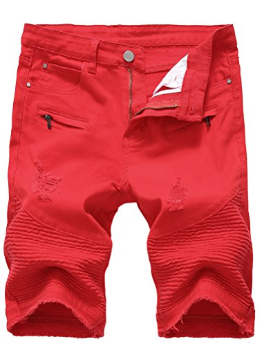 Lavnis Men's Casual Denim Shorts Classic Fit Ripped Distressed Summer Jeans Shorts Red 31