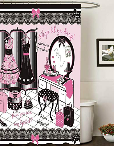Rrfwq Fashion Diva Canvas Fabric Shower Curtain Glamour Girl Pink Color 72X72IN (Glamour Shower Curtain Set)