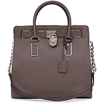 5879baba34b0 Michael Kors Hamilton Saffiano-Leather Tote Cinder Taupe New Bag Purse