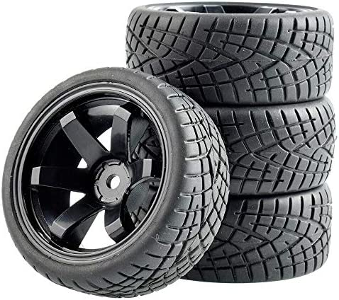 RC 701-8001 Rubber Tires & Plastic Wheel 4Pcs For HSP HPI 1:10 O