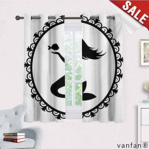Big datastore Solid Thermal Insulated Grommet Blackout Panels/Drapes,Mermaid,Vintage Graphic Illustration of A Framed Princess Mermaid with Crown and Fish,for Bedroom Window Black White,W55 Xl45