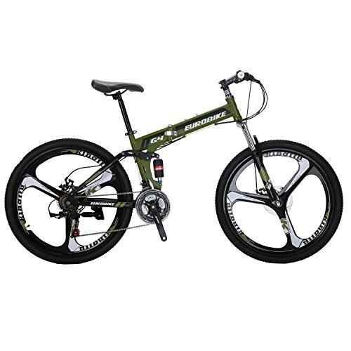 EUROBIKE G4 Mountain Bike 26 Inches 3 Spoke Dual Suspension Folding Bike 21 Speed MTB Army Green