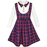 Sunny Fashion KN23 Girls Dress 2-In-1 School Checked Plaid Suspender Skirt Size 7