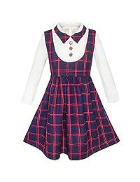 Sunny Fashion Girls Dress School White Collar Long Sleeve Striped Size 4-12