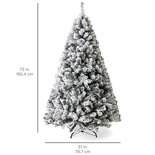 Best Choice Products 6ft Pre-Lit Snow Flocked Artificial Christmas Pine Tree Holiday Decor w/ 250 Warm White Lights