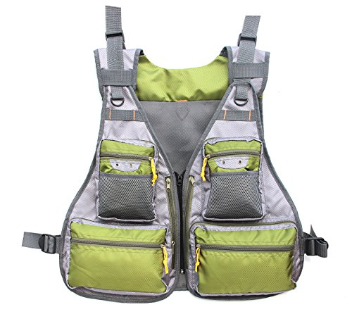 JSHANMEI Fly Fishing Vest, Pockets Jacket, Outdoor Quick-Dry Net Vest, Fishing Hunting Waistcoat, Travel Photography Mesh Vest, Adjustable Size for Men Women (Green/Gray) For Sale
