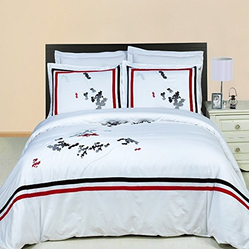 Simply Linens Florence Embroidered 2-Piece Standard Pillowshams 100% Egyptian Cotton 300 Thread Count