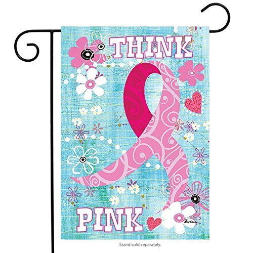 QQshiqI Think Pink Breast Cancer Awareness Garden Flag 12.5
