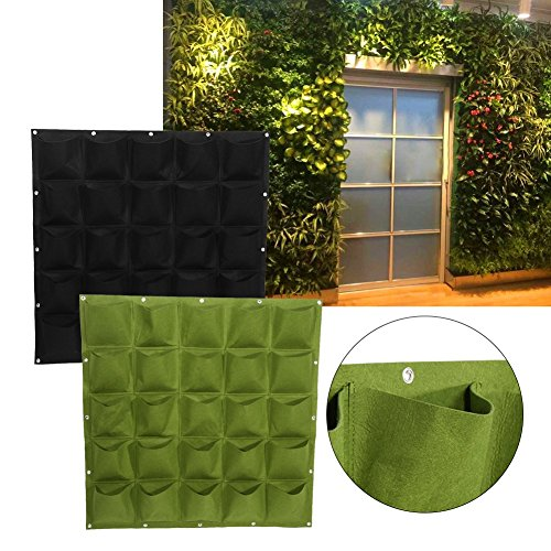 25 Pockets Planting Bags Wall Hanging Gardening Planter Outdoor Indoor Vertical Greening Grow Bags Flower Growing Container, Black