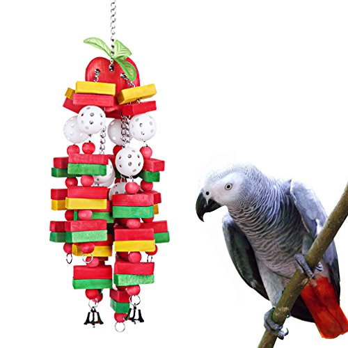Bird Chewing Toy Large Medium Parrot Cage Bite Toys African Grey Macaws Cockatoos Eclectus Amazon (Apple-22inch)
