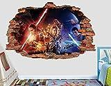 Star Wars Force Awakens 3D Sticker Wall Decal Smashed Vinyl Decor Mural Movie - Broken Wall - 3D Designs - AL115 (Giant (Wide 50'' x 30'' Height))