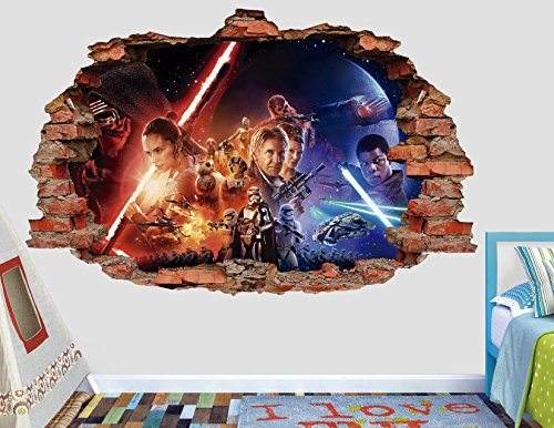 Star Wars Force Awakens 3D Sticker Wall Decal Smashed Vinyl Decor Mural Movie - Broken Wall - 3D Designs - AL115 (Large (Wide 40