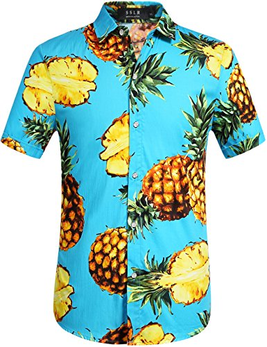 SSLR Men's Pineapple Printed Cotton Button Down Short Sleeve Hawaiian Shirt (Small, Sky Blue)