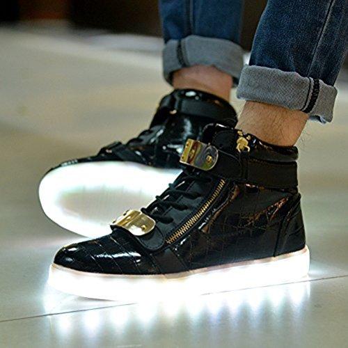 [Presente:pequeña toalla]JUNGLEST® 7 Colores USB Carga LED Luz Glow Luminosos Light Up Flashing Sneakers Zapatos Deportivos de Charol Alto-Top Negro