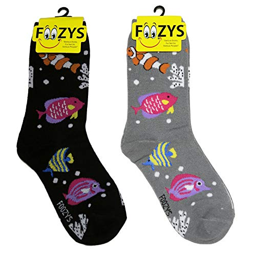 Foozys Women's Crew Socks | Tropical Fish Tropical Island Novelty Socks | 2 ()