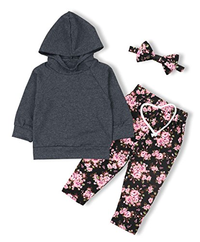 oklady Baby Girls Long Sleeve Flowers Grey Hoodie Tops and Pants Outfits With Headband Clothes Set(3-6M)