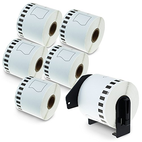 6 Rolls Compatible Brother DK-2205 Continuous Length Paper Tape Labels Black on White 62mm x 30.48m (2-3/7