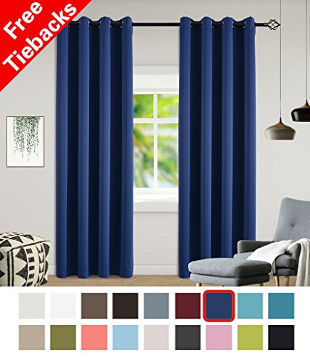 Yakamok 2 Panels Navy Blue Blackout Thermal Insulated Grommet Curtains With Two Ties for Bedroom/Living Room 52 by (Two Grommet)
