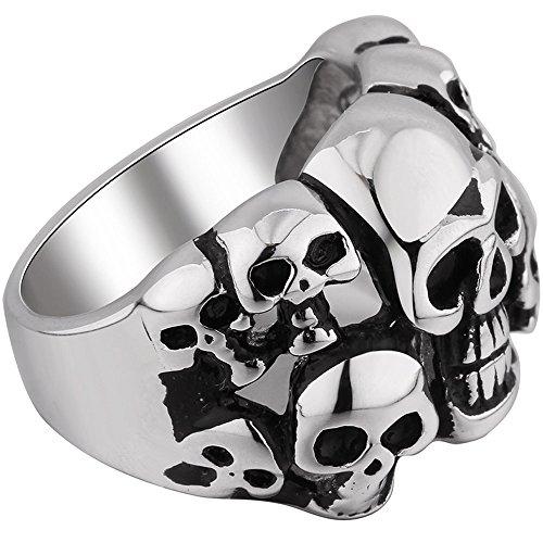 Anillo de acero inoxidable clásico clásico gótico en relieve cráneo motorista banda de plata anillo negro tamaño 11