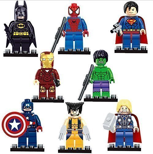Avengers Marvel & DC Minifigures + FREE Avengers 50 Piece Puzzle (In Cute Compact TIN). Set of 8 Super Heroes Building Blocks