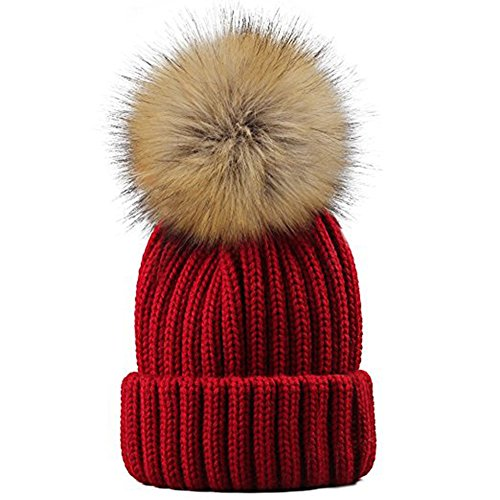 Yetagoo Kids/Adult Knitted Cozy Warm Winter Snowboarding Ski Hat with Faux Fur Pom Pom Slouchy Beanie Bobble Hat (Wine red, Kids)