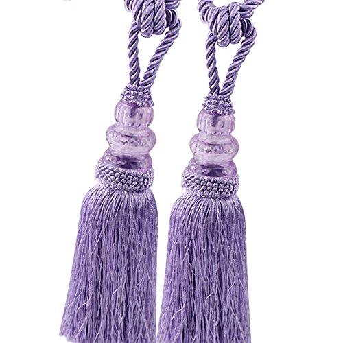 Chictie 2 Pack Curtain Tassel Tiebacks Crystal Beaded Fringe Ropes for Drapery Window Door Decorations (Purple)